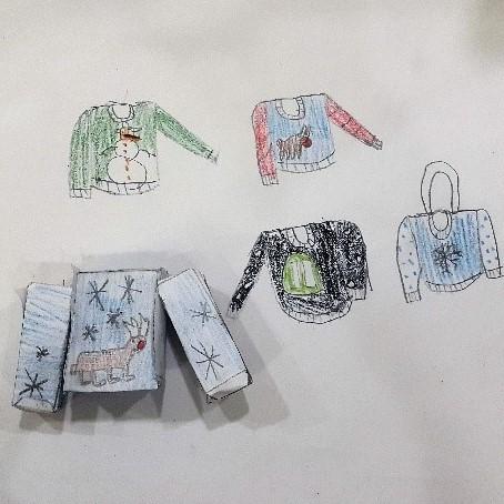 christmas-jumper-collection-year8-art-fashion-craft-project-tutor-irina-taneva