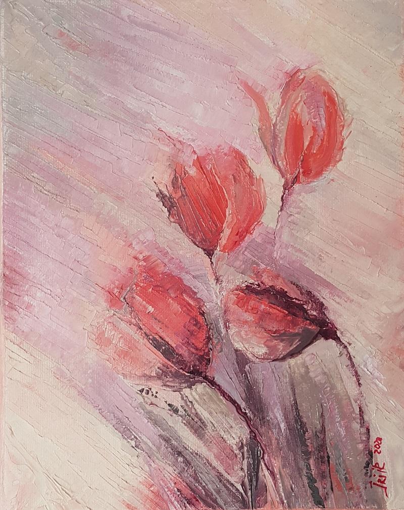 joy of achieving dancing red pink tupils original art Irina Taneva oil canvas spring mood