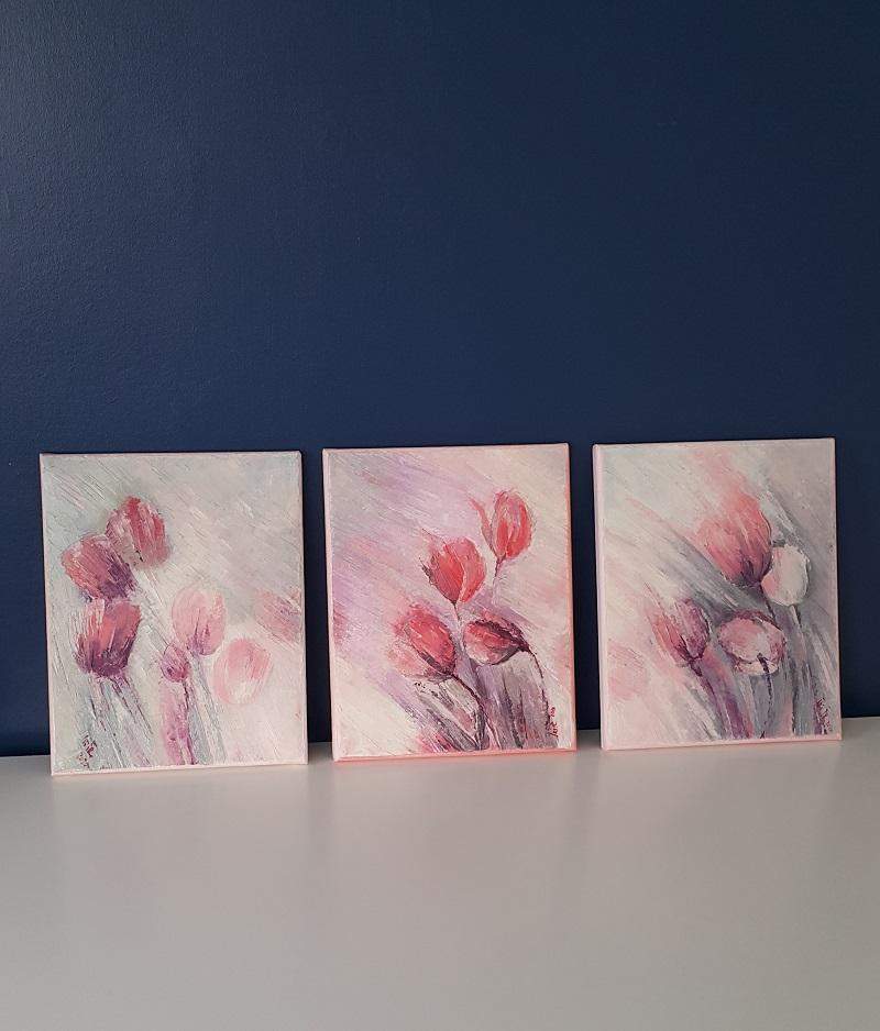 dancing tulips happy mood pink grey art original paintings wall decor interior trends 2021 irina taneva