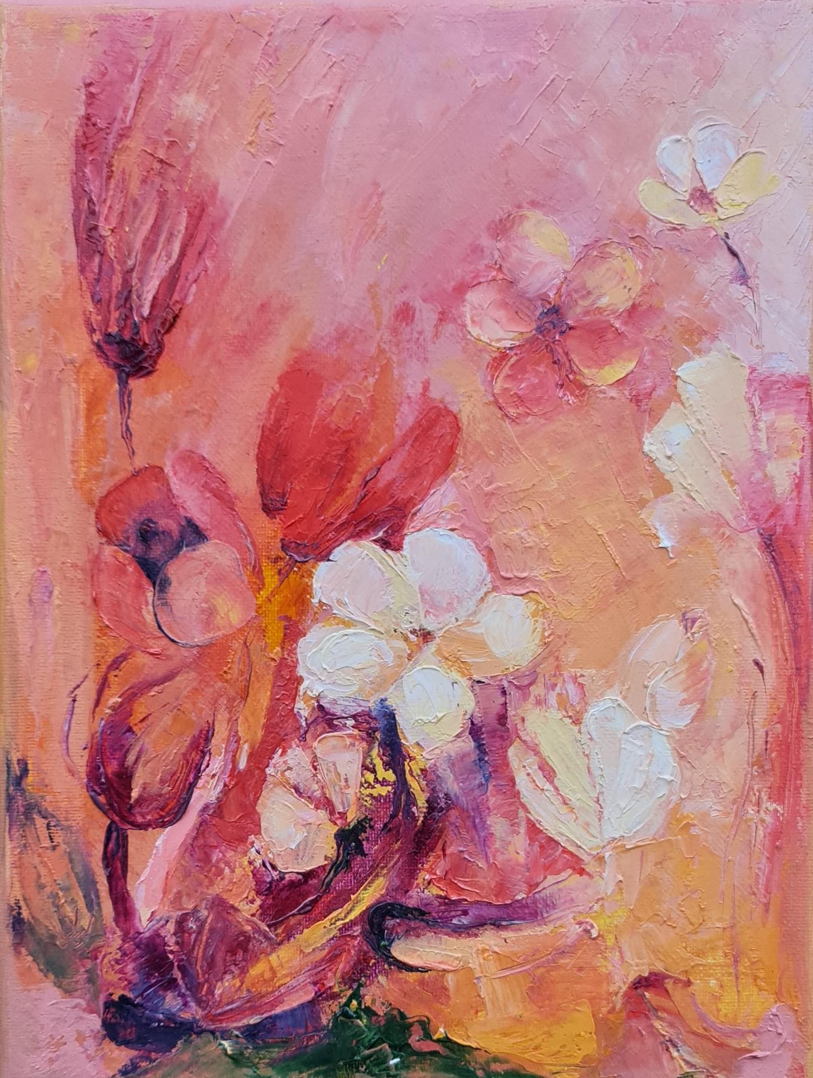 blooming love white red yellow flowers tulips oil painting irina taneva iri ir