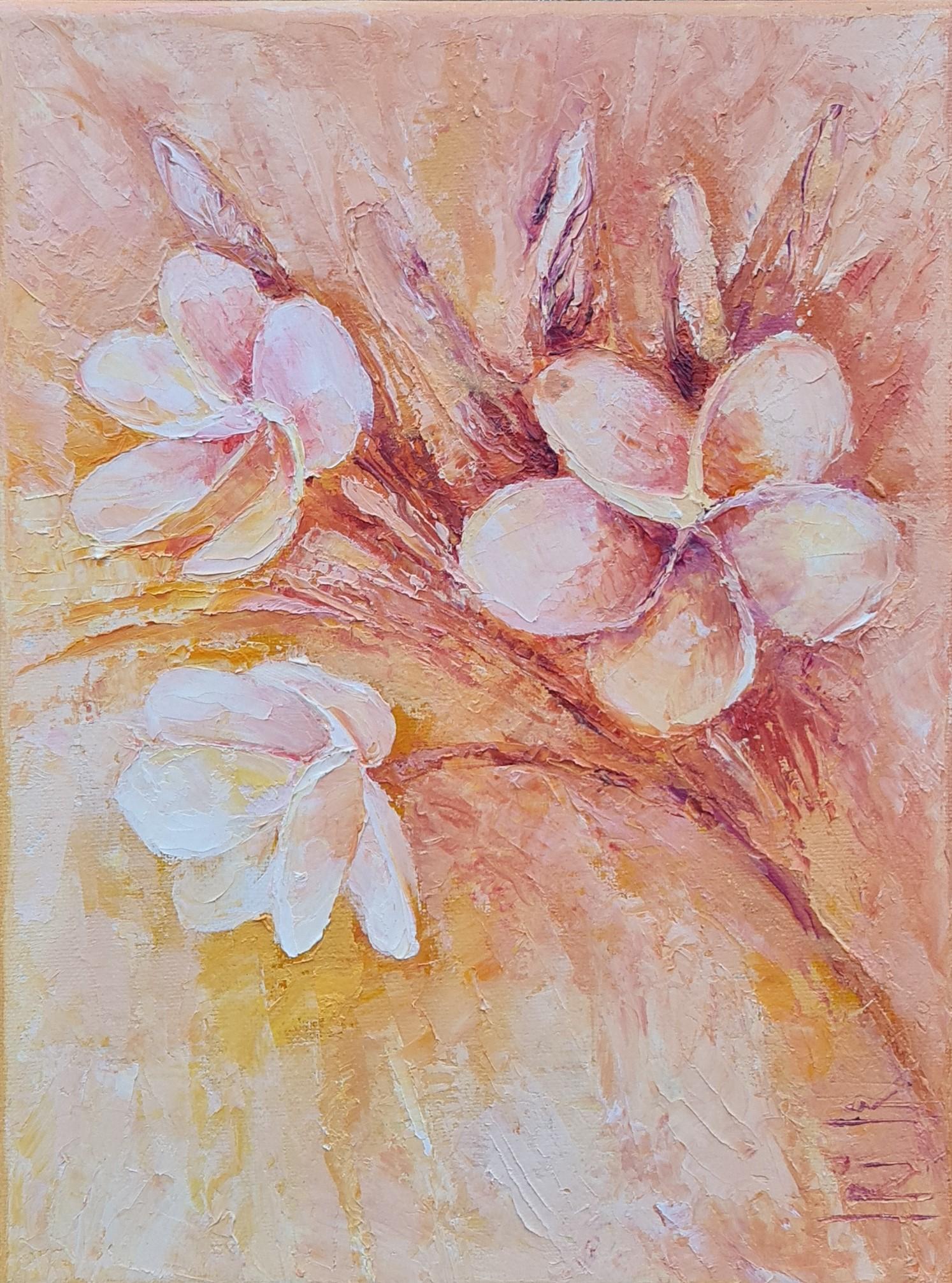 Hawaiian beauty flowers orange white red irina taneva oil painting