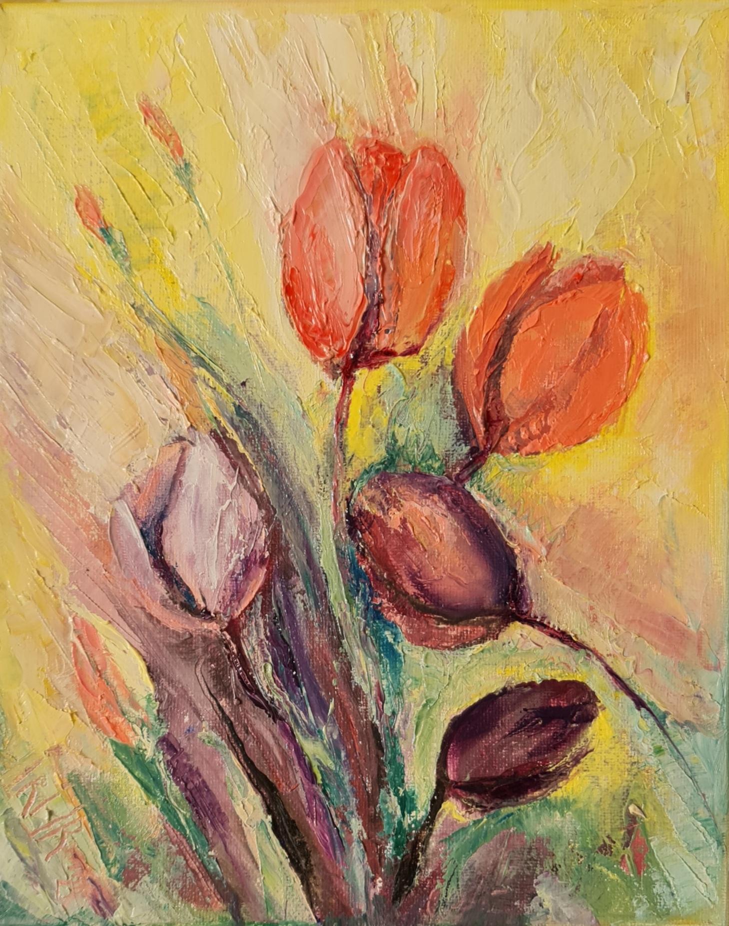 rainbow love irina taneva unique oil painting flower tulips garden spring